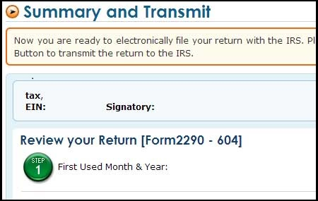 Form 2290 E-filing process - Transmit to IRS